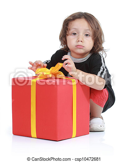 boy with big gift box - csp10472681