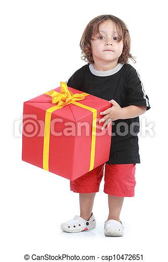 boy with big gift box - csp10472651