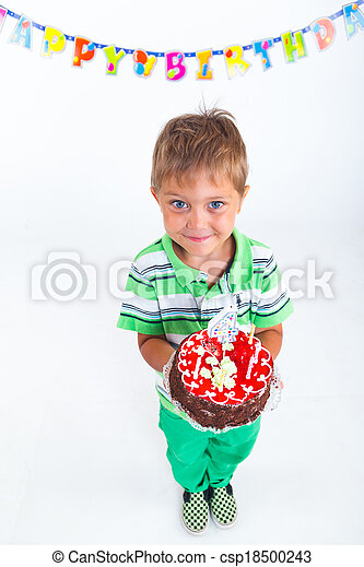 Boy with birthday cake - csp18500243