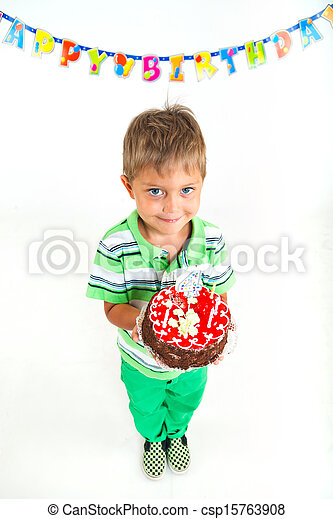 Boy with birthday cake - csp15763908