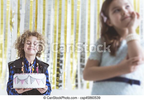 Boy with birthday cake - csp45860539
