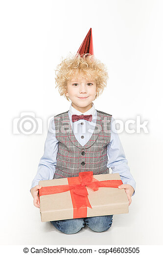 Boy with birthday present - csp46603505