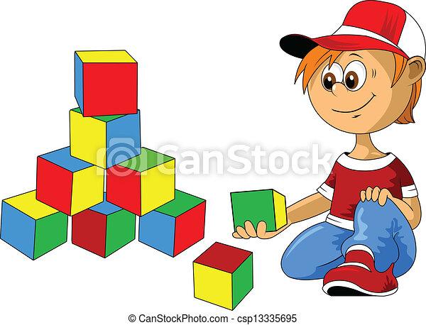 boy with blocks - csp13335695