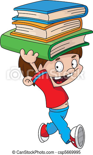 boy with books - csp5669995