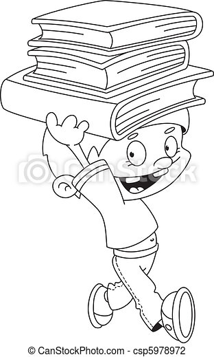 boy with books outlined - csp5978972