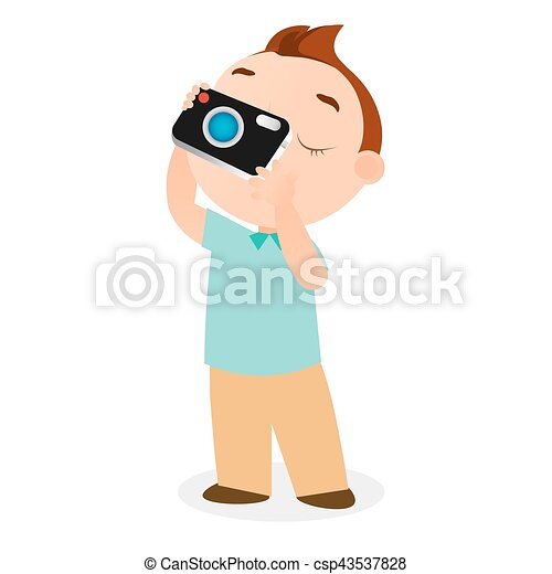 Boy with camera. Vector illustration eps 10 isolated on white background. Flat cartoon style. - csp43537828