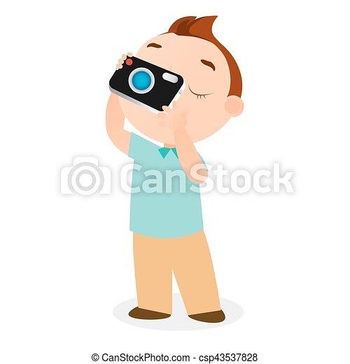 Boy with camera. Vector illustration eps 10 isolated on white background. Flat cartoon style. - csp43537828