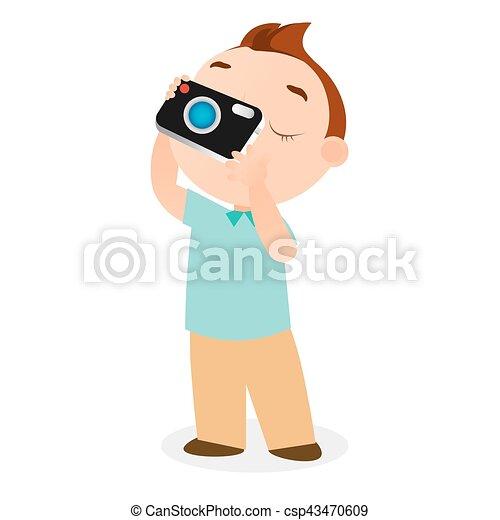 Boy with camera. Vector illustration eps 10 isolated on white background. Flat cartoon style - csp43470609
