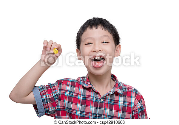 boy with candy isolated over white - csp42910668