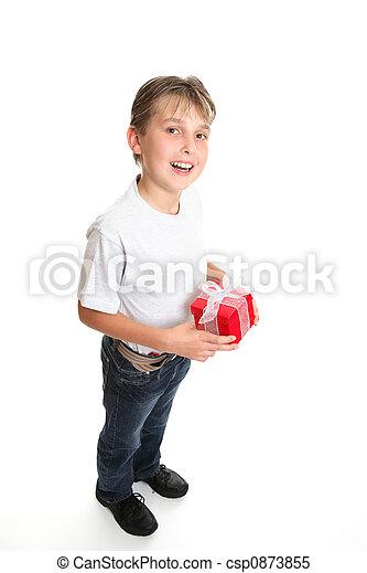 Boy with Christmas present - csp0873855