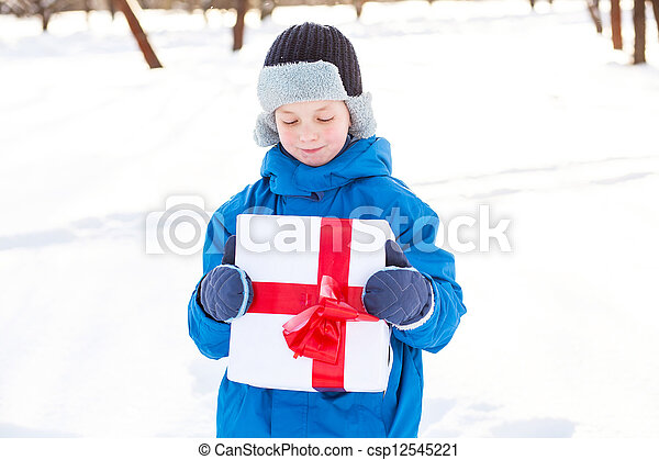 boy with Christmas present - csp12545221