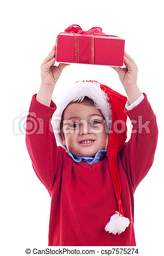 boy with christmas present - csp7575274