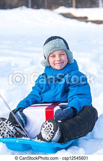 boy with Christmas present - csp12545601