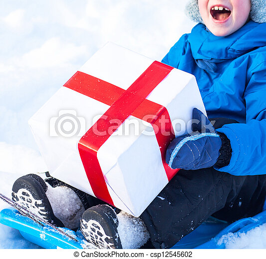 boy with Christmas present - csp12545602