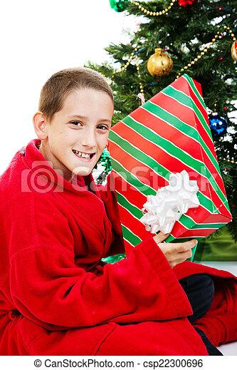 Boy With Chrstmas Gift - csp22300696
