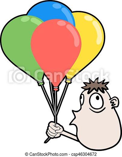 boy with color balloons - csp46304672