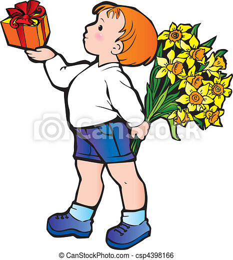 boy with flowers beautiful boy with present and bunch of clip rh canstockphoto com beautiful clipart beautiful clipart black and white