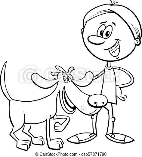 boy with funny dog cartoon coloring book - csp57871790