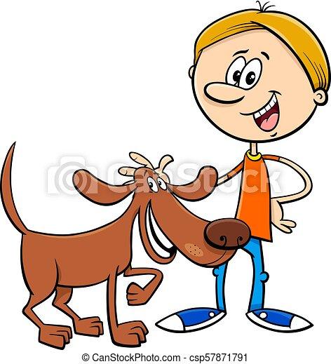 boy with funny dog cartoon illustration - csp57871791
