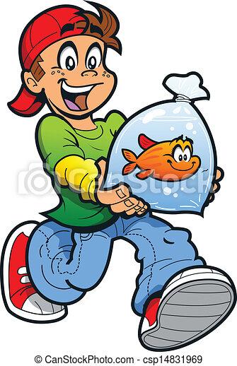 Boy With Goldfish - csp14831969