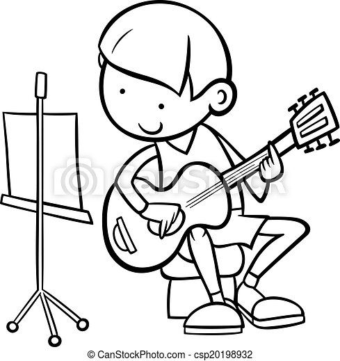 Boy With Guitar Coloring Page