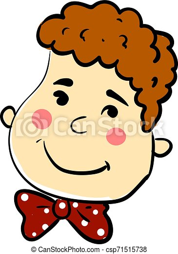 Boy with happy face, illustration, vector on white background. - csp71515738