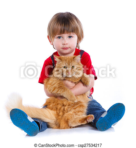 Boy with his cat - csp27534217