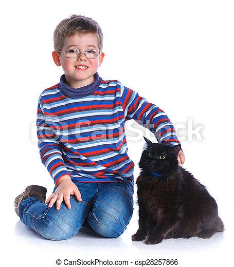 Boy with his cat - csp28257866