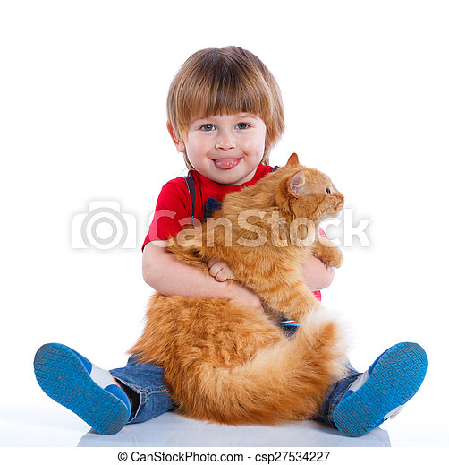 Boy with his cat - csp27534227