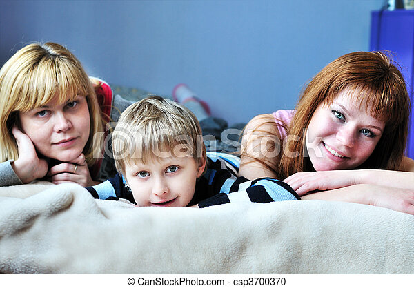 boy with his sister and mother - csp3700370