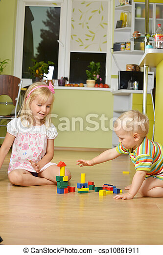 boy with his sister - csp10861911