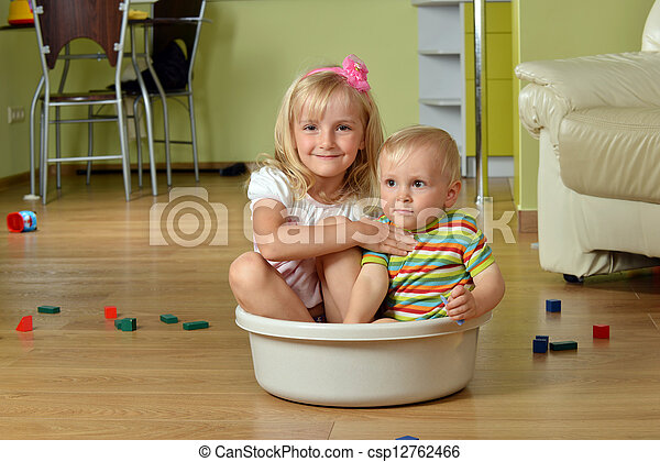 boy with his sister - csp12762466
