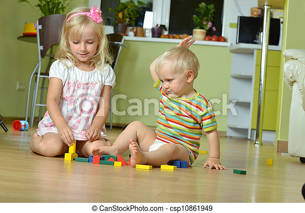 boy with his sister - csp10861949