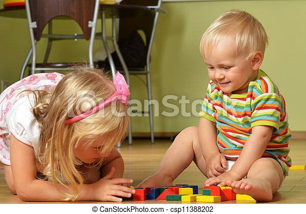 boy with his sister - csp11388202
