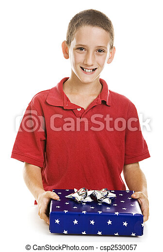 Boy with Holiday Gift - csp2530057