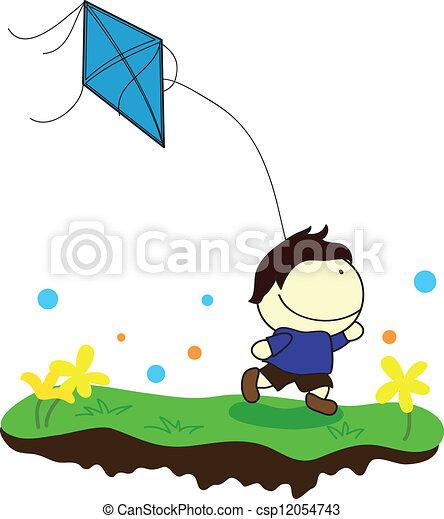 boy with kite - csp12054743