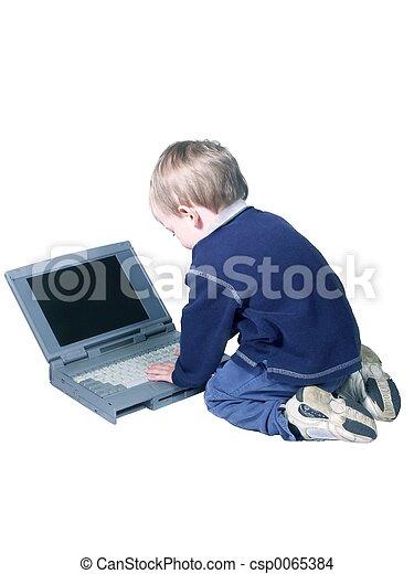 boy with laptop - csp0065384