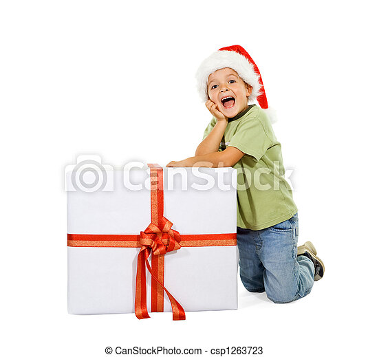 Boy with large present - csp1263723