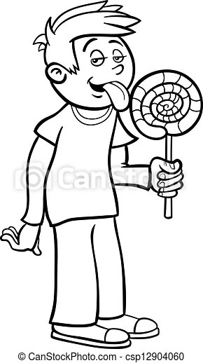 boy with lollipop cartoon for coloring black and white cartoon