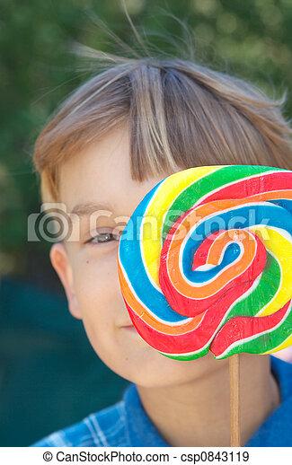 boy with lollipop - csp0843119