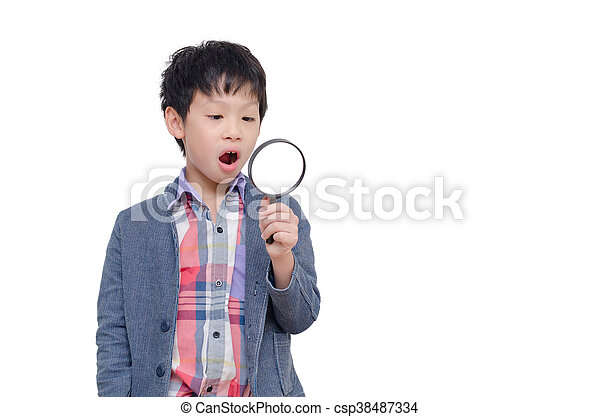 boy with magnifying glass over white - csp38487334