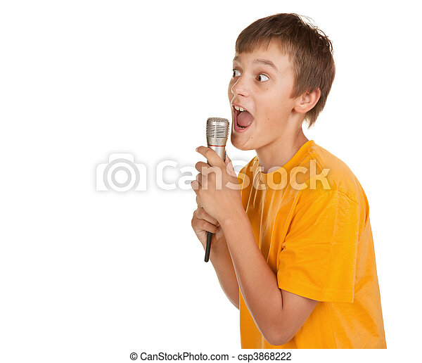 boy with microphone and lots of copyspace - csp3868222
