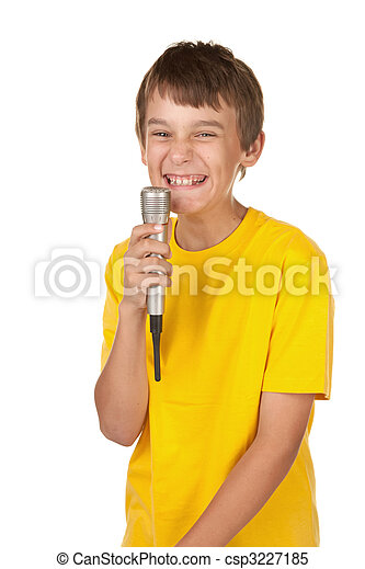 boy with microphone on white - csp3227185