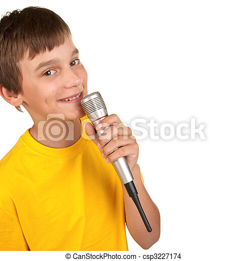 boy with microphone on white - csp3227174