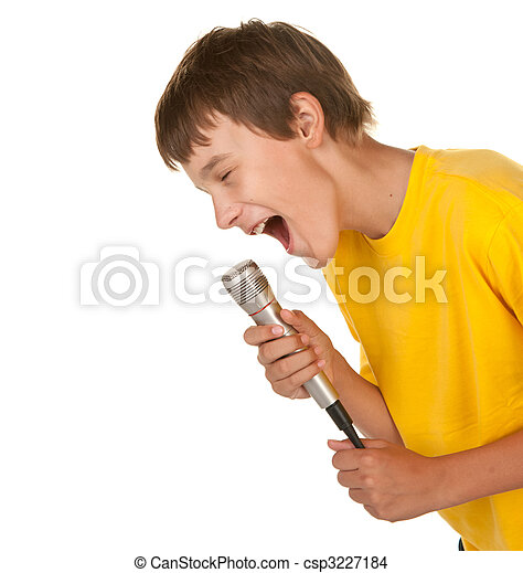 boy with microphone on white - csp3227184