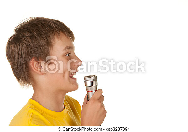 boy with microphone on white - csp3237894