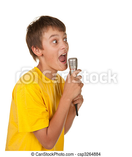 boy with microphone on white - csp3264884