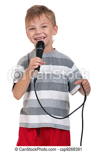 Boy with microphone - csp9268391