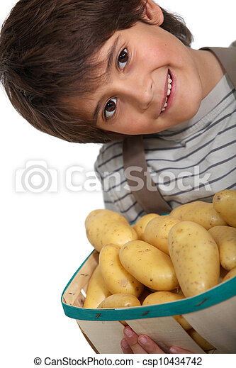 Boy with new potatoes - csp10434742