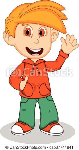 Boy with orange jacket - csp37744941